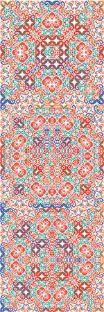 Mexican vintage talavera tiles. Collection of vector seamless patterns. Hand drawn design. Red antique backgrounds for pillows, print, wallpaper, web backdrop, towels, surface texture.