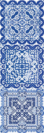 Antique azulejo tiles patchworks. Set of vector seamless patterns. Original design. Blue spain and portuguese decor for bags, smartphone cases, T-shirts, linens or scrapbooking. Illusztráció