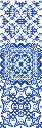Ceramic tiles azulejo portugal. Bathroom design. Kit of vector seamless patterns. Blue ethnic backgrounds for T-shirts, scrapbooking, linens, smartphone cases or bags.