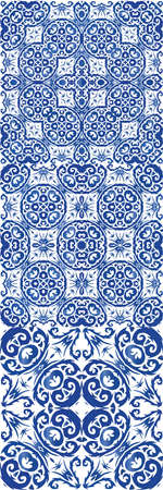 Antique portuguese azulejo ceramic. Minimal design. Set of vector seamless patterns. Blue floral and abstract decor for scrapbooking, smartphone cases, T-shirts, bags or linens.