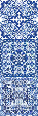 Portuguese ornamental azulejo ceramic. Collection of vector seamless patterns. Geometric design. Blue vintage backdrops for wallpaper, web background, towels, print, surface texture, pillows.