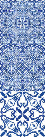Traditional ornate portuguese azulejos. Set of vector seamless patterns. Geometric design. Blue abstract backgrounds for web backdrop, print, pillows, surface texture, wallpaper, towels.