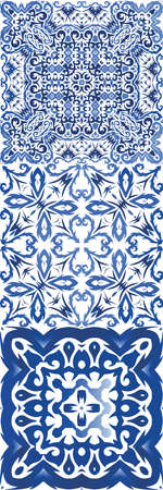Portuguese vintage azulejo tiles. Kit of vector seamless patterns. Creative design. Blue antique backgrounds for pillows, print, wallpaper, web backdrop, towels, surface texture. Illusztráció