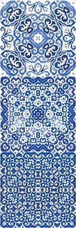 Ornamental azulejo portugal tiles decor. Hand drawn design. Kit of vector seamless patterns. Blue gorgeous flower folk prints for linens, smartphone cases, scrapbooking, bags or T-shirts. Illusztráció