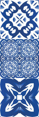 Decorative color ceramic azulejo tiles. Kit of vector seamless patterns. Graphic design. Blue folk ethnic ornaments for print, web background, surface texture, towels, pillows, wallpaper.