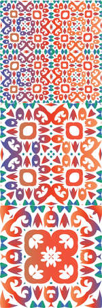 Ethnic ceramic tiles in mexican talavera. Collection of vector seamless patterns. Universal design. Red vintage ornaments for surface texture, towels, pillows, wallpaper, print, web background.