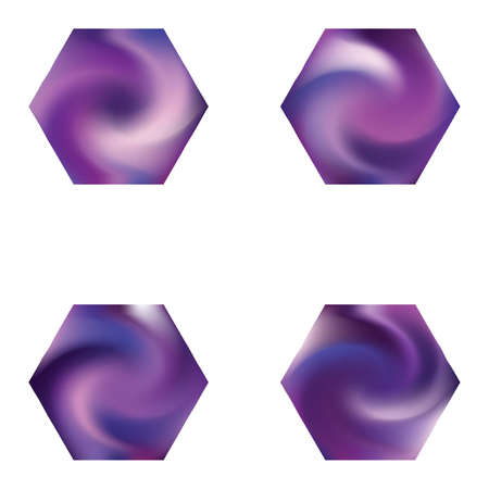 Collection of hexagonal smooth backgrounds. Trendy soft color polygon. Polygonal style of 90th, 80th. Violet elegant and easy editable colorful fluid covers for your creative projects. Vectores