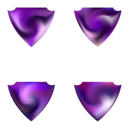 Kit of modern backgrounds in the form of a shield. Trendy soft color form. Minimal style of 80th. Violet fluid colorful gradient shapes for your mobile app and screens.