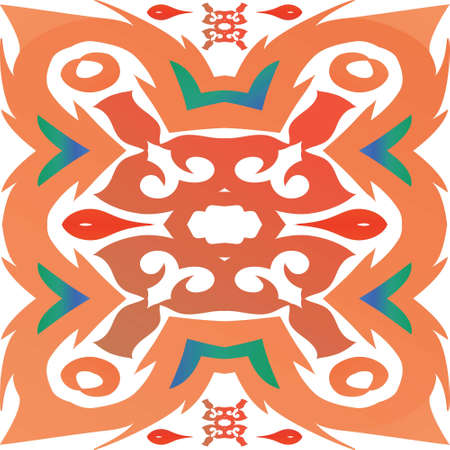 Mexican vintage talavera tiles. Kitchen design. Vector seamless pattern watercolor. Red antique background for pillows, print, wallpaper, web backdrop, towels, surface texture.