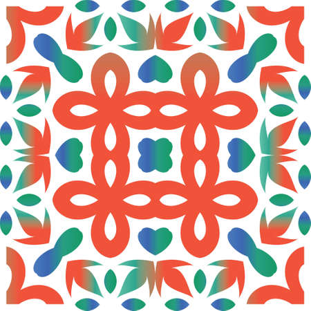 Decorative color ceramic talavera tiles. Vector seamless pattern elements. Kitchen design. Red folk ethnic ornament for print, web background, surface texture, towels, pillows, wallpaper. Çizim