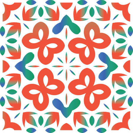 Ethnic ceramic tile in mexican talavera. Vector seamless pattern concept. Hand drawn design. Red vintage ornament for surface texture, towels, pillows, wallpaper, print, web background.