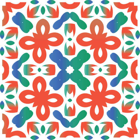 Traditional ornate mexican talavera. Creative design. Vector seamless pattern watercolor. Red abstract background for web backdrop, print, pillows, surface texture, wallpaper, towels.