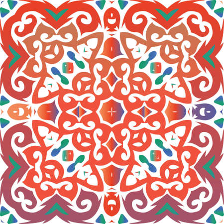 Mexican ornamental talavera ceramic. Graphic design. Vector seamless pattern elements. Red vintage backdrop for wallpaper, web background, towels, print, surface texture, pillows.