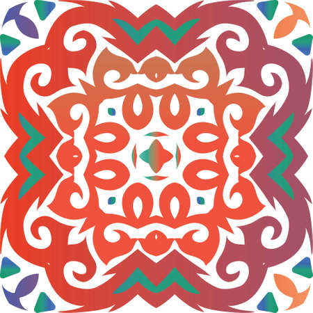 Ethnic ceramic tile in mexican talavera. Original design. Vector seamless pattern arabesque. Red vintage ornament for surface texture, towels, pillows, wallpaper, print, web background. Çizim