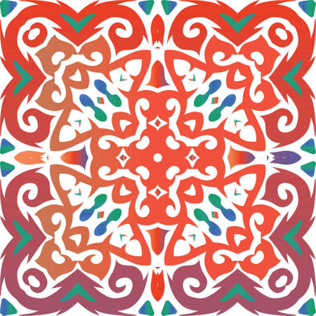 Antique mexican talavera ceramic. Graphic design. Vector seamless pattern poster. Red floral and abstract decor for scrapbooking, smartphone cases, T-shirts, bags or linens.