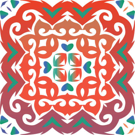 Traditional ornate mexican talavera. Fashionable design. Vector seamless pattern trellis. Red abstract background for web backdrop, print, pillows, surface texture, wallpaper, towels.