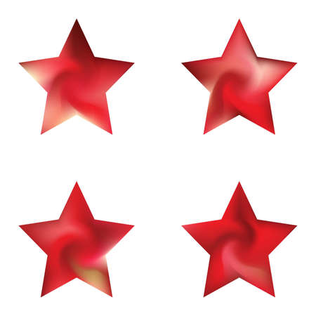 Collection of pentagram smooth backgrounds. Trendy soft color form. Minimal style of 90th, 80th. Red elegant and easy editable colorful fluid covers for your creative projects.