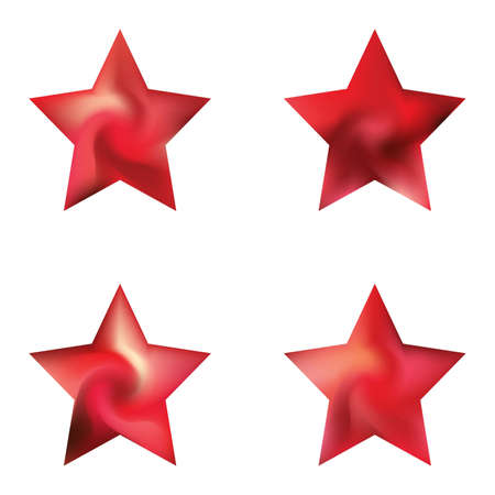 Set of pentagram colorful backgrounds. Trendy soft color star. Flat style of 90th, 80th. Red elegant and effective, smooth blurred modern gradient covers.
