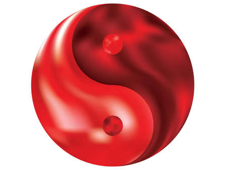 Modern background in the form of yin yang. Cool original liquid theme. Trendy soft color backdrop. Red fluid colorful gradient shape for your mobile app and screens.