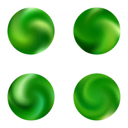 Collection with round modern backgrounds. Surreal retro style of 80th. Trendy soft color sphere. Green fluid colorful gradient shapes for your mobile app and screens.