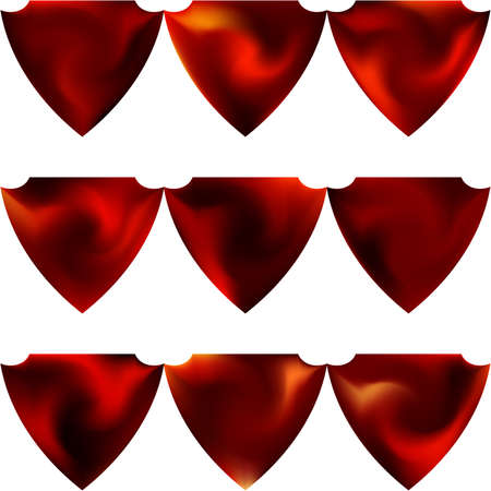 Kit of chromatic backgrounds in the form of a shield. Trendy soft color form. Futuristic style of 80th. Red effective modern screen design for brochure, calendar, cards or invitation.