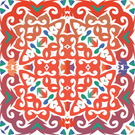 Mexican ornamental talavera ceramic. Vector seamless pattern elements. Modern design. Red vintage backdrop for wallpaper, web background, towels, print, surface texture, pillows.