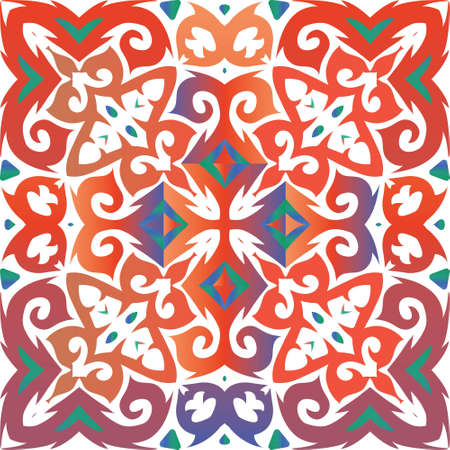 Traditional ornate mexican talavera. Fashionable design. Vector seamless pattern theme. Red abstract background for web backdrop, print, pillows, surface texture, wallpaper, towels.