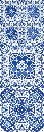 Traditional ornate portuguese azulejo. Vector seamless pattern watercolor. Graphic design. abstract background for web backdrop, print, pillows, surface texture, wallpaper, towels.
