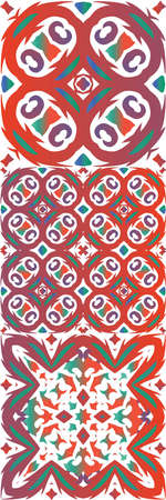 Antique ornate tiles talavera mexico. Set of vector seamless patterns. Hand drawn design. Red ethnic backgrounds for T-shirts, scrapbooking, linens, smartphone cases or bags.