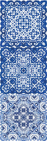 Traditional ornate portuguese azulejos. Colored design. Kit of vector seamless patterns. Blue abstract backgrounds for web backdrop, print, pillows, surface texture, wallpaper, towels.