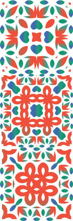 Antique talavera tiles patchworks. Fashionable design. Kit of vector seamless patterns. Red mexican ornamental decor for bags, smartphone cases, T-shirts, linens or scrapbooking.