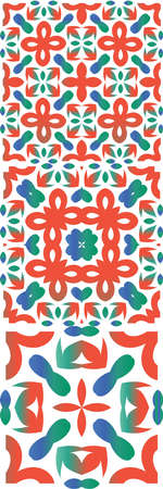Antique talavera tiles patchworks. Set of vector seamless patterns. Minimal design. Red mexican ornamental decor for bags, smartphone cases, T-shirts, linens or scrapbooking.