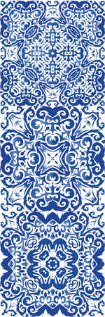 Portuguese ornamental azulejo ceramic. Set of vector seamless patterns. Graphic design. Blue vintage backdrops for wallpaper, web background, towels, print, surface texture, pillows.
