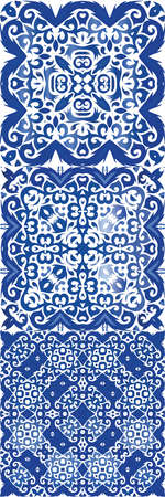 Ethnic ceramic tiles in portuguese azulejo. Set of vector seamless patterns. Creative design. Blue vintage ornaments for surface texture, towels, pillows, wallpaper, print, web background.