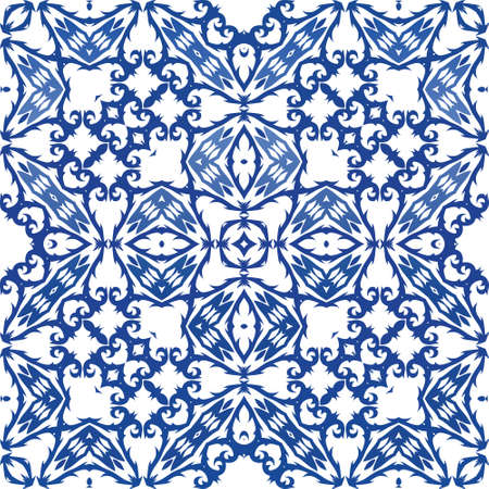 Ornamental azulejo portugal tiles decor. Fashionable design. Vector seamless pattern flyer. Blue gorgeous flower folk print for linens, smartphone cases, scrapbooking, bags or T-shirts.