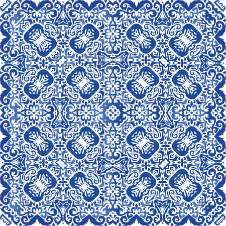 Ornamental azulejo portugal tiles decor. Vector seamless pattern watercolor. Kitchen design. Blue gorgeous flower folk print for linens, smartphone cases, scrapbooking, bags or T-shirts.