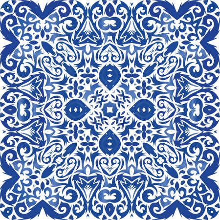 Decorative color ceramic azulejo tiles. Vector seamless pattern collage. Minimal design. Blue folk ethnic ornament for print, web background, surface texture, towels, pillows, wallpaper.