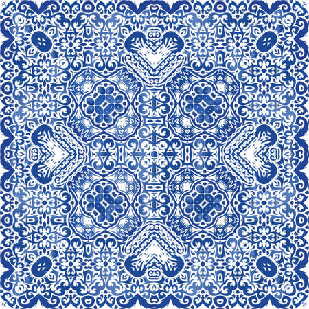Portuguese ornamental azulejo ceramic. Kitchen design. Vector seamless pattern flyer. Blue vintage backdrop for wallpaper, web background, towels, print, surface texture, pillows. Illusztráció