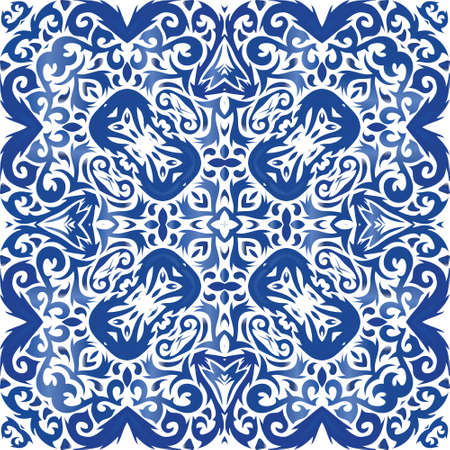 Ethnic ceramic tile in portuguese azulejo. Universal design. Vector seamless pattern collage. Blue vintage ornament for surface texture, towels, pillows, wallpaper, print, web background.