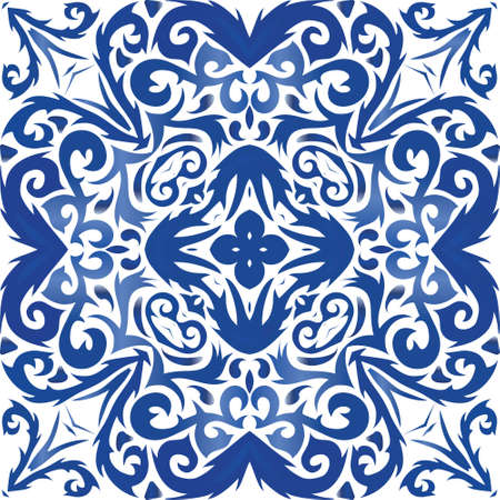 Antique azulejo tiles patchwork. Vector seamless pattern frame. Kitchen design. Blue spain and portuguese decor for bags, smartphone cases, T-shirts, linens or scrapbooking. Illusztráció