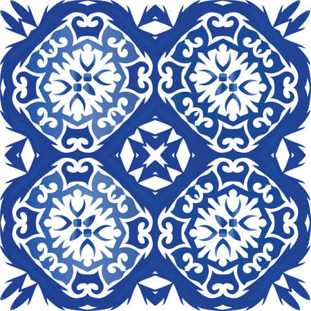 Portuguese ornamental azulejo ceramic. Vector seamless pattern frame. Original design. Blue vintage backdrop for wallpaper, web background, towels, print, surface texture, pillows.