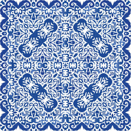 Antique portuguese azulejo ceramic. Vector seamless pattern flyer. Original design. Blue floral and abstract decor for scrapbooking, smartphone cases, T-shirts, bags or linens. Illusztráció