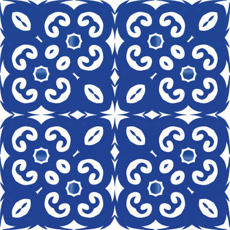 Portuguese vintage azulejo tiles. Original design. Vector seamless pattern collage. Blue antique background for pillows, print, wallpaper, web backdrop, towels, surface texture.