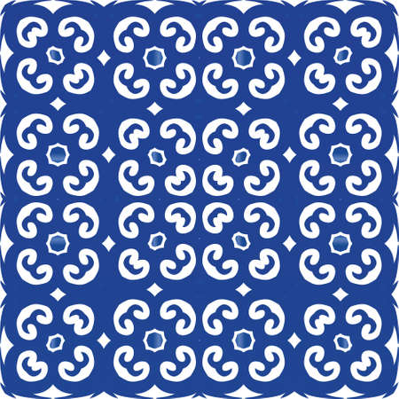 Decorative color ceramic azulejo tiles. Vector seamless pattern arabesque. Modern design. Blue folk ethnic ornament for print, web background, surface texture, towels, pillows, wallpaper.