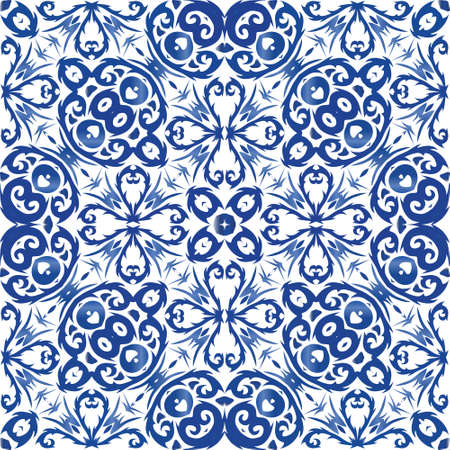Traditional ornate portuguese azulejo. Modern design. Vector seamless pattern flyer. Blue abstract background for web backdrop, print, pillows, surface texture, wallpaper, towels.