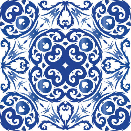 Antique portuguese azulejo ceramic. Vector seamless pattern poster. Original design. Blue floral and abstract decor for scrapbooking, smartphone cases, T-shirts, bags or linens. Illusztráció