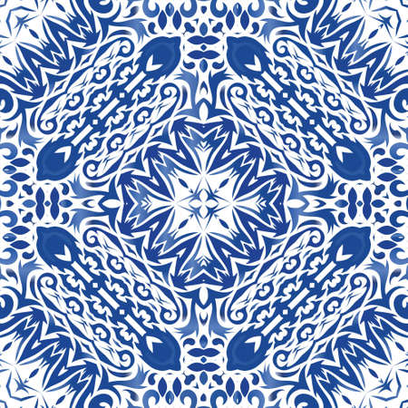Antique portuguese azulejo ceramic. Vector seamless pattern illustration. Fashionable design. Blue floral and abstract decor for scrapbooking, smartphone cases, T-shirts, bags or linens. Illusztráció