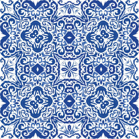 Antique portuguese azulejo ceramic. Original design. Vector seamless pattern arabesque. Blue floral and abstract decor for scrapbooking, smartphone cases, T-shirts, bags or linens.
