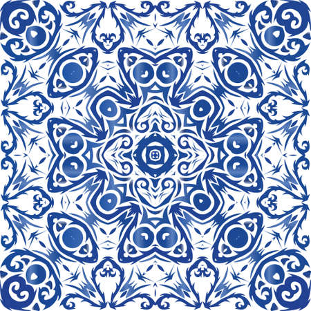 Antique azulejo tiles patchwork. Vector seamless pattern collage. Geometric design. Blue spain and portuguese decor for bags, smartphone cases, T-shirts, linens or scrapbooking. Illusztráció