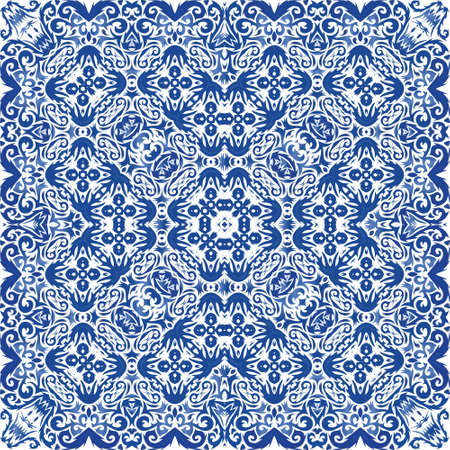 Ceramic tiles azulejo portugal. Vector seamless pattern theme. Colored design. Blue ethnic background for T-shirts, scrapbooking, linens, smartphone cases or bags.